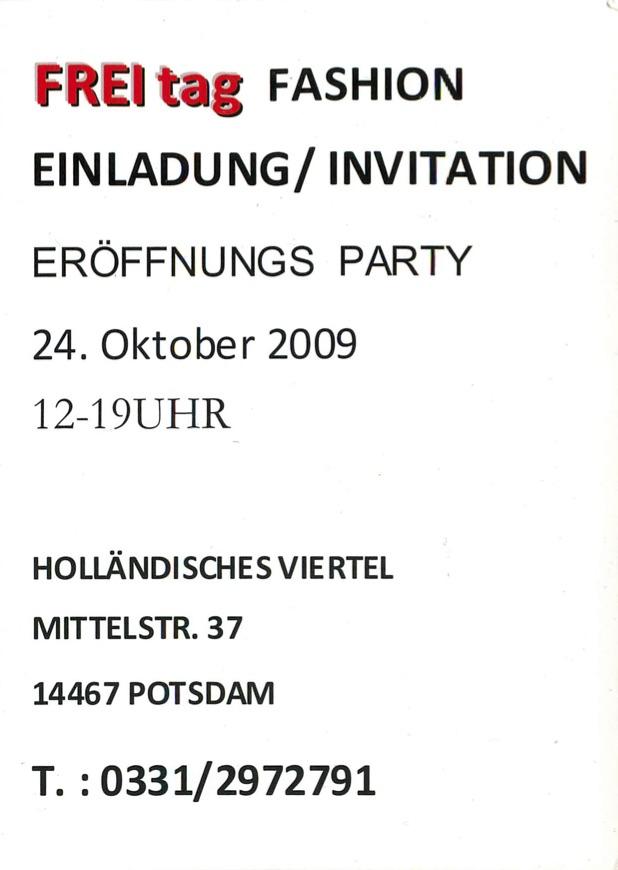 Freitag Fashion Karte 2009 Potsdam 2